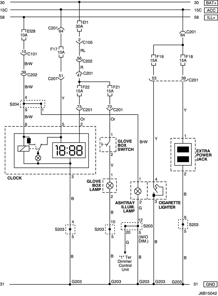 Электрическая схема 2006 Nubira-Lacetti 18. ЦЕПЬ ЧАСОВ