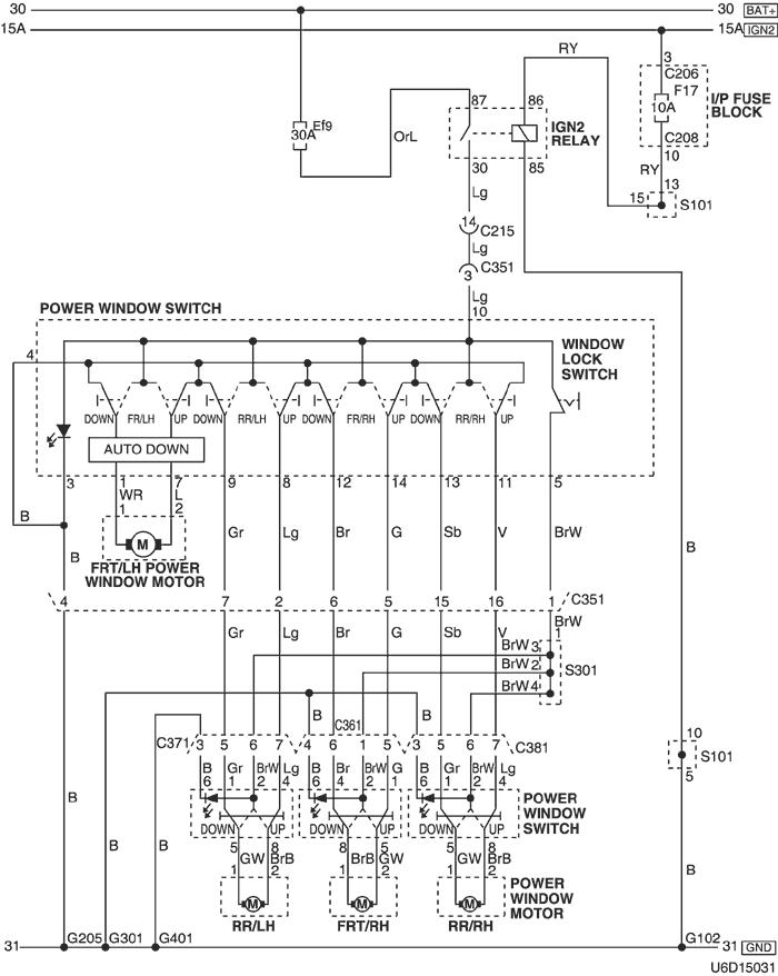 Электрическая схема 2006 Tacuma-Rezzo 19. ЦЕПЬ