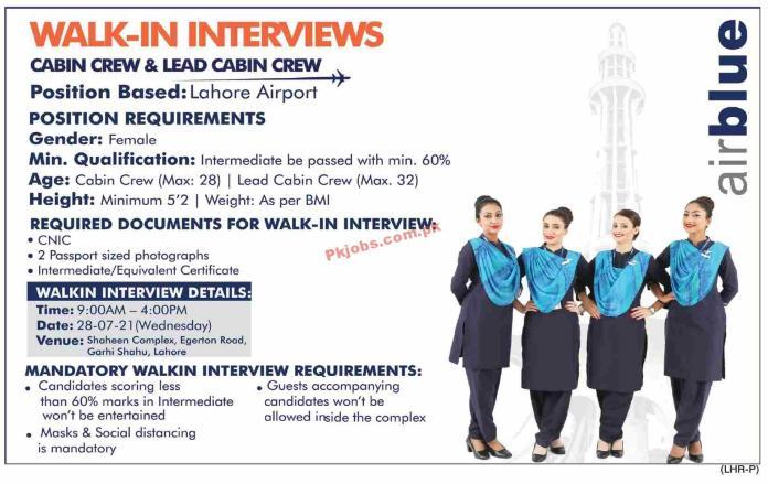 Air Blue Airline Announced Latest Cabin Crew Management Pk Jobs