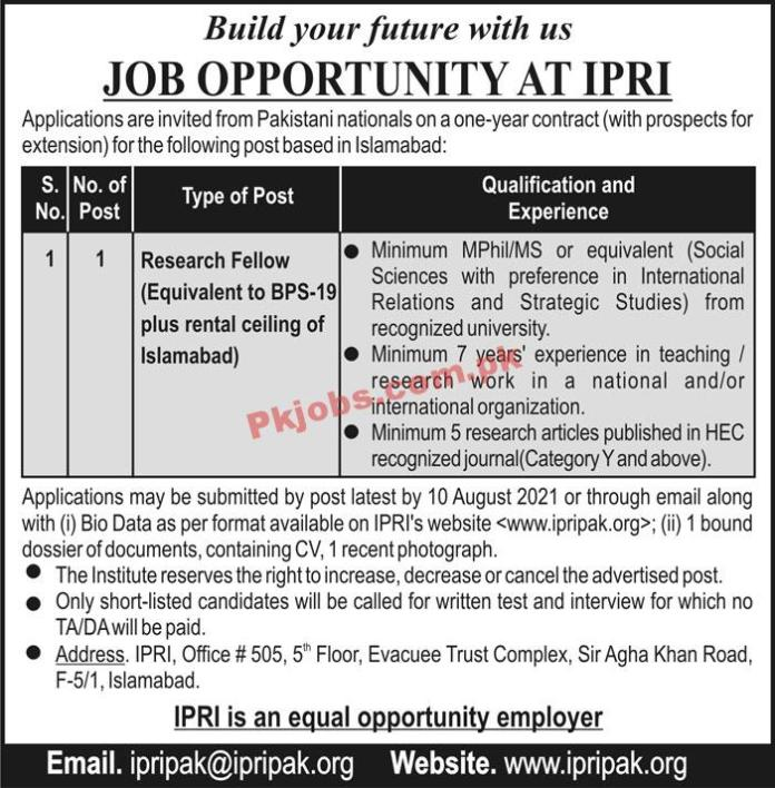 Islamabad Policy Research Institute (ipri) Pk Jobs 2021