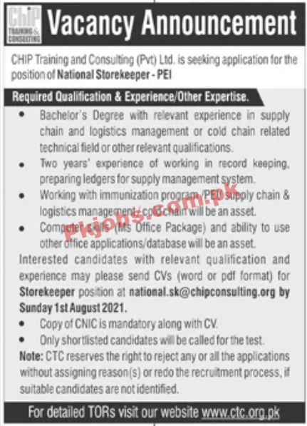 Jobs In Chip Training And Consulting Pvt Ltd