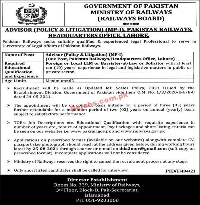 Jobs In Government Of Pakistan Ministry Of Railways