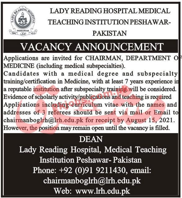 Jobs In Lady Reading Hospital Medical Teaching Institution Peshawar
