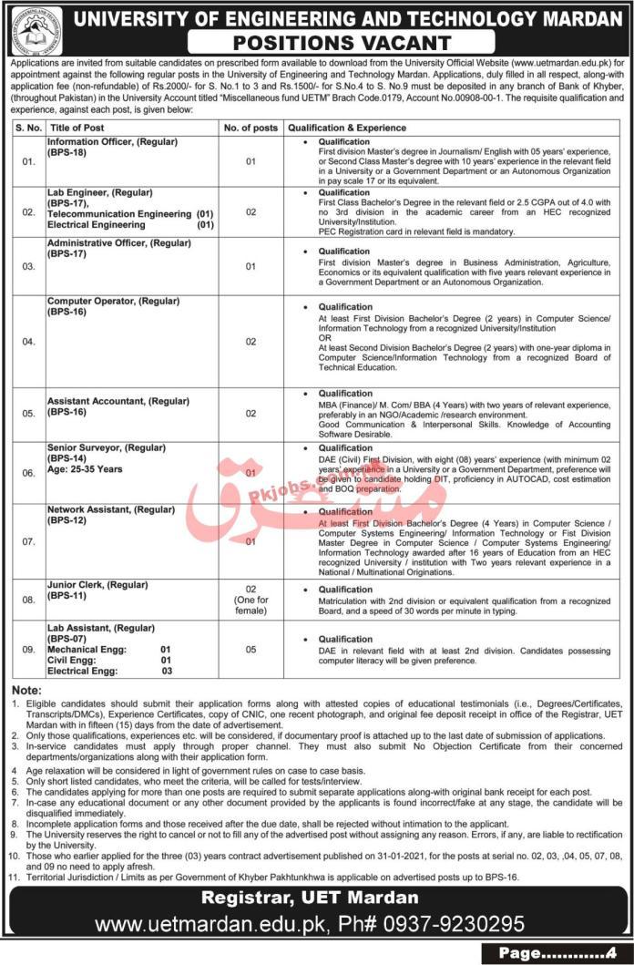 Jobs In University Of Engineering And Technology Mardan