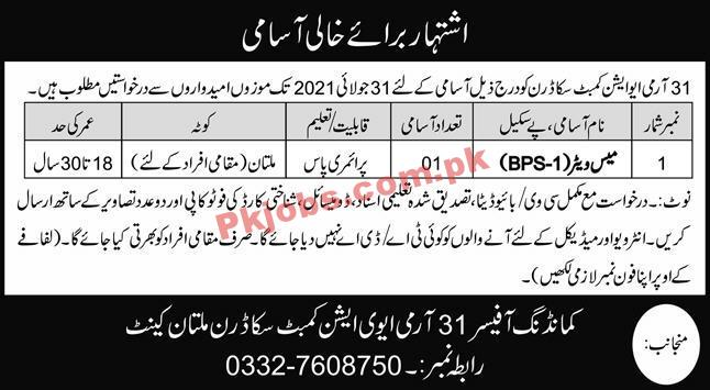 Pakistan Army Aviation Combat Squadron Announced Support Staff Pk Jobs