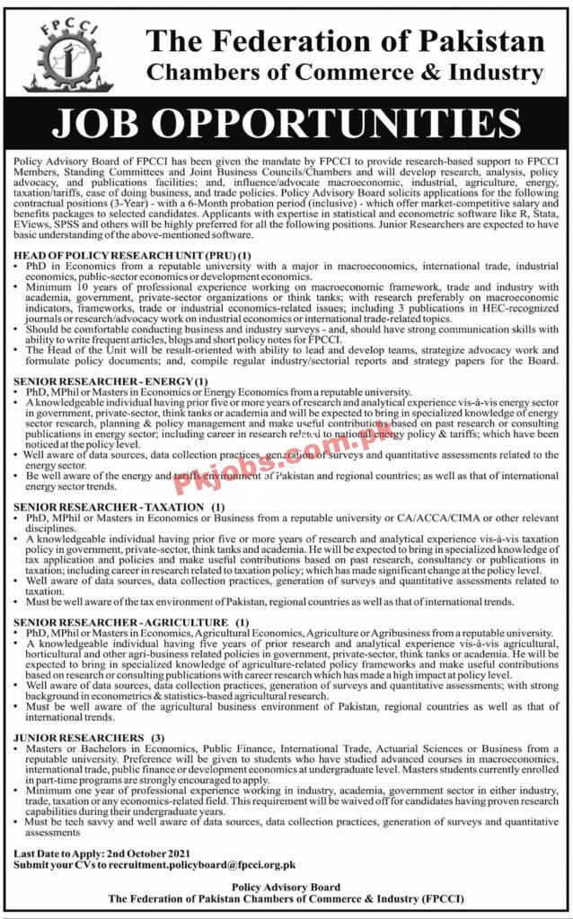 Fpcci Pk Jobs 2021 | Federation Of Pakistan Chambers Of