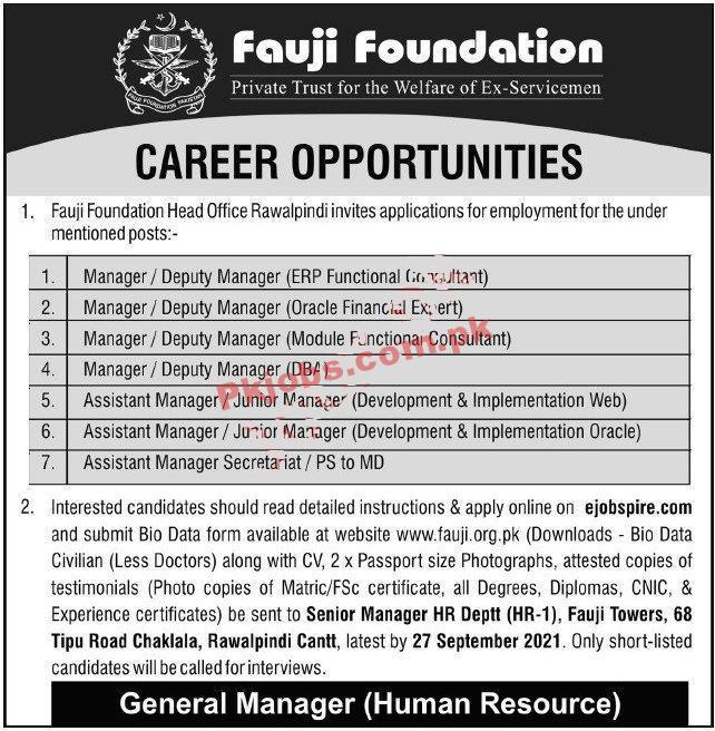 Fauji Foundation Pk Jobs 2021 | Fauji Foundation Company Head
