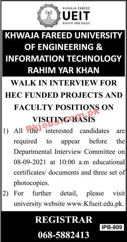 Jobs In Khwaja Fareed Ueit Rahim Yar Khan