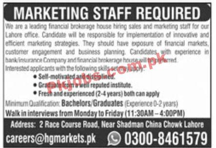 Jobs In Leading Financial Brokerage House