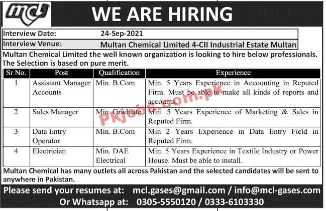 Jobs In Multan Chemical Limited Mcl