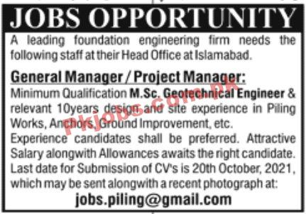 Jobs In Leading Foundation Engineering Firm