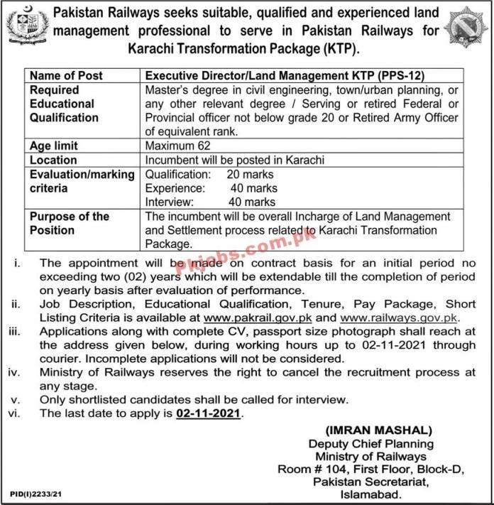 Pakistan Railways Pk Jobs 2021 | Ministry Of Railways Headquarters