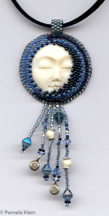 Sleeping Moon Beaded Pendant