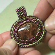 Bead Embroidered Cabochon with Peyote Stitch Bail