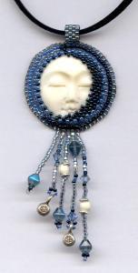 """Sleeping Moon"" Bead Embroidered Pendant"
