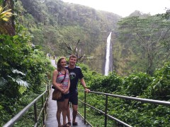 Lauren and I checking out the green lush side of Hawaii in some hot tropical downpours!