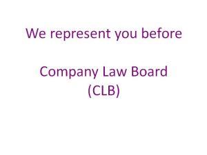 Represent before Company Law Board