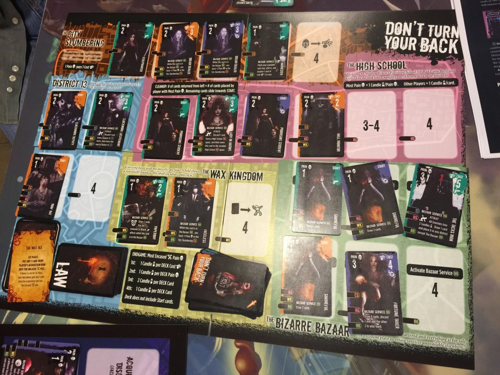Note how full the board is. Only a single legal space remained and I didn't have any more HS cards.