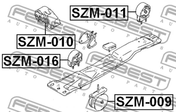 SZM-009 MOTORLAGER LINKS FÜR SUZUKI. OE-Vergleichsnummern
