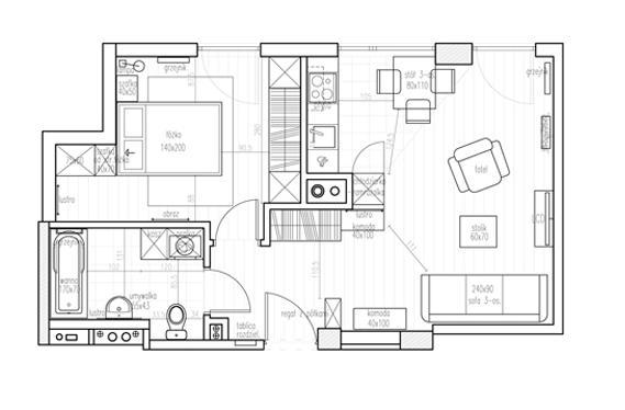 Projekt mieszkania 3 pokojowego, łazienka, kuchnia