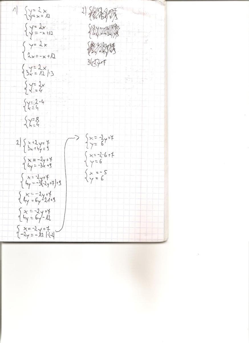 rozwiąż układy równan metoda podstawiania y=2x i y+x=12