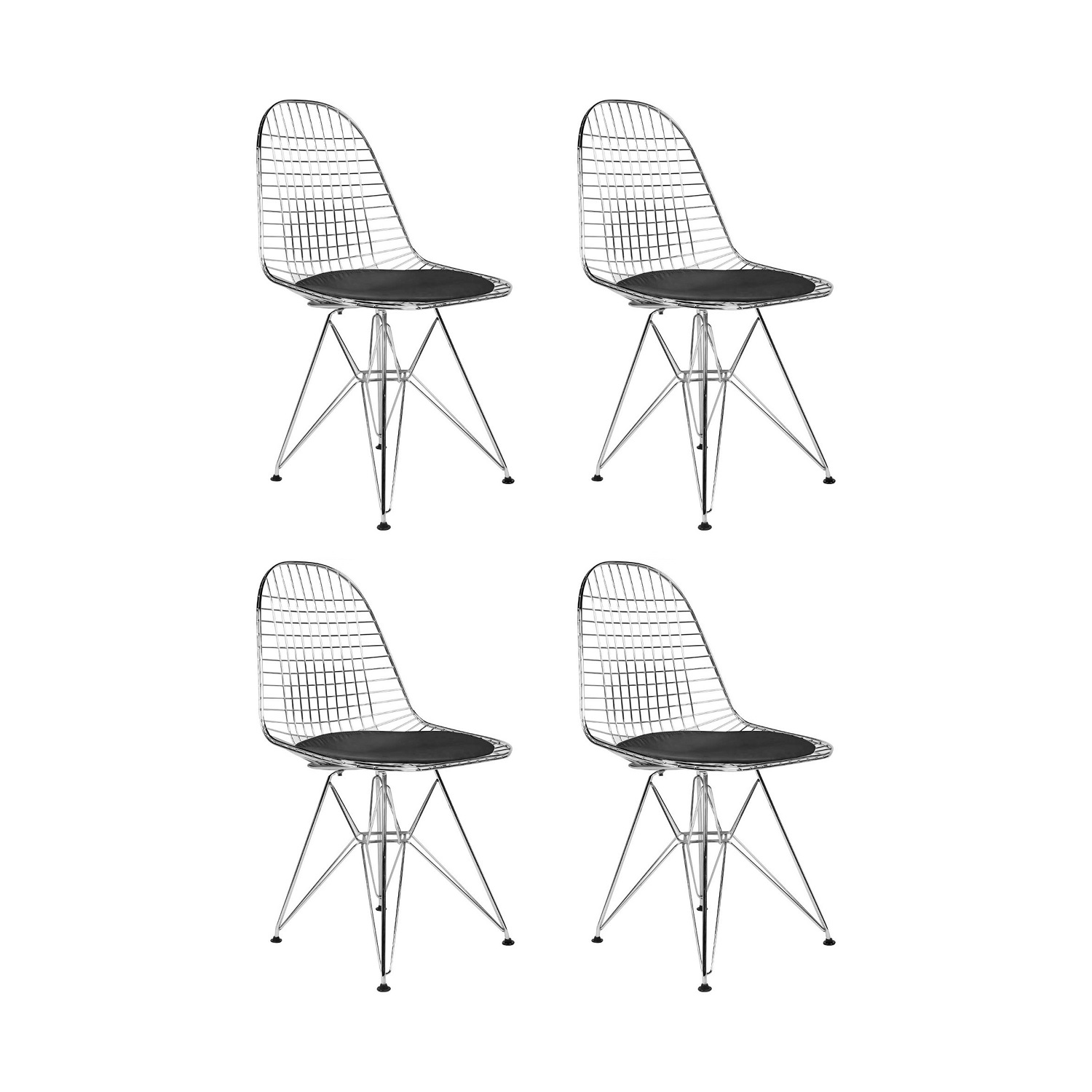Eames Wire Chair Replica Eames Wire Chair Chrome Set Of 4