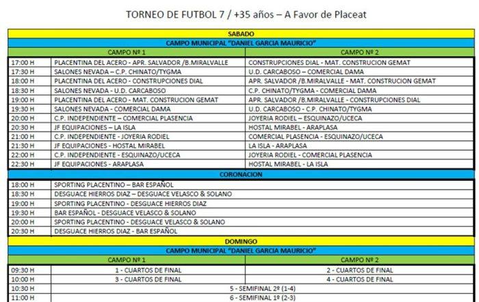 Horario y Grupos Torneo de Fútbol-7 a favor de Placeat y la Plena Inclusión de las Personas con Discapacidad Intelectual