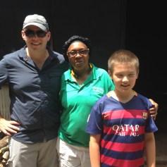 Trey Cole, Pitmaster Helen Turner and Patrick Cole outside the smoke shack.