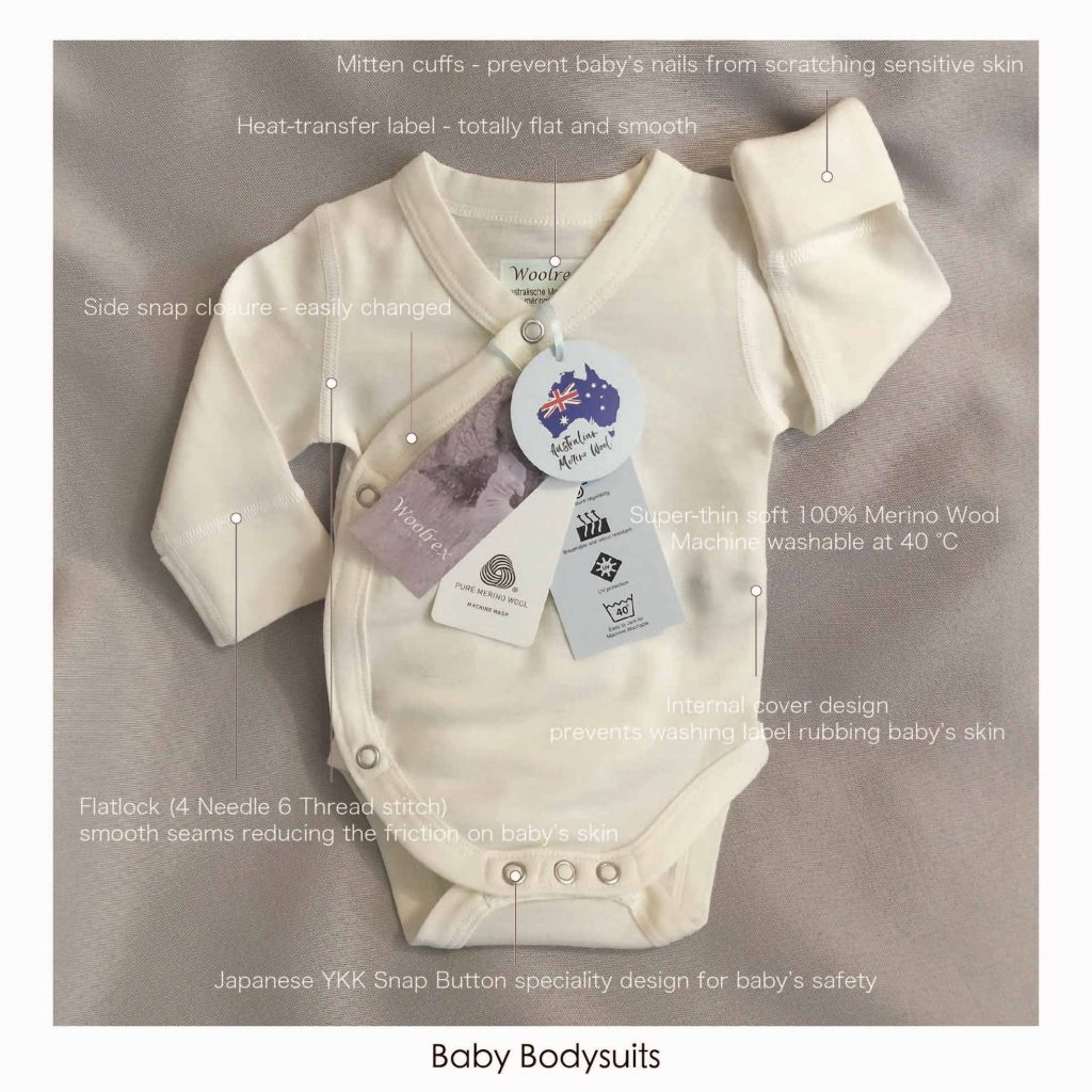baby bodysuits made of pure merino wool