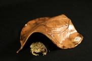 #042 Raku sunflower leaf toad house, medium - $30
