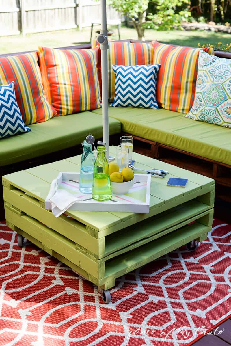 diy sofa from pallets thompson bed pallet furniture a patio makeover www placeofmytaste com