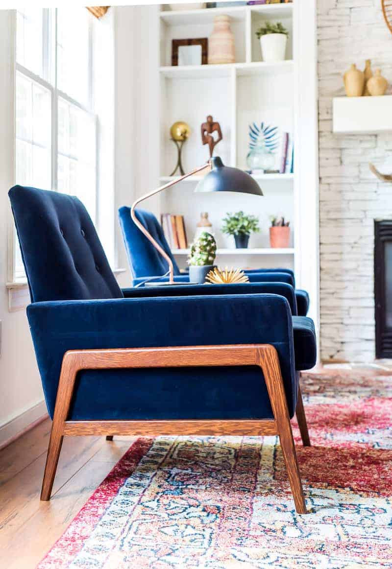 blue chair living room long narrow layout designs refresh with velvet chairs from article place of my taste be sure to check out s hip mid modern collection i am you will love it offers a 30 day satisfaction guarantee so can try your
