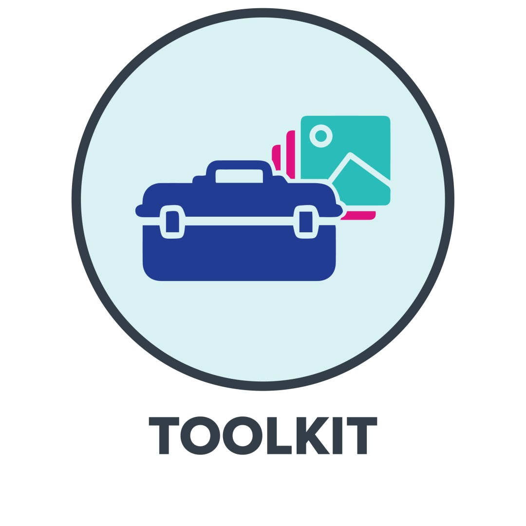 Toolkit Icon With Car And Teal Mountain Icon In Background