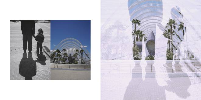 Double Exposure Example - Men and child holding hands with palm trees shining through them.
