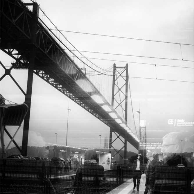 Ponte 25 de Abril Lisbon double exposure black and white photo