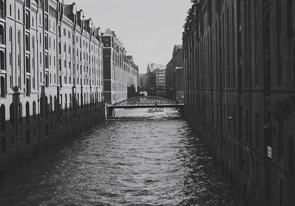 Speicherstadt Hamburg View on a Bridge between brick houses