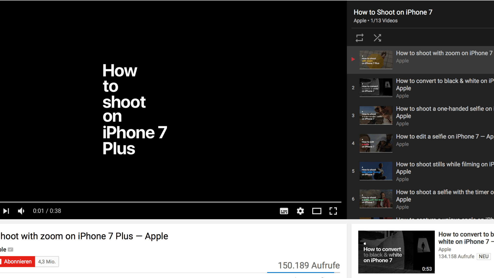 Screenshot YouTube with iPhone 7 Tutorials from Apple