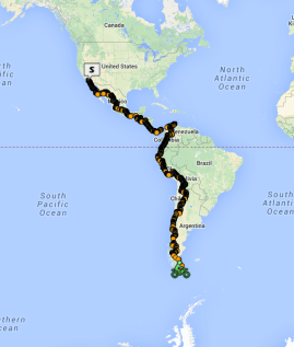 My route. 5 months, 17,020 miles, 13 countries.