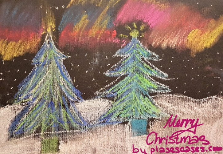merry christmas with a Fredericka Hagia painting