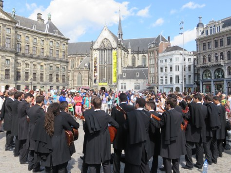 Musicians and crowds at the Dam in Amsterdam