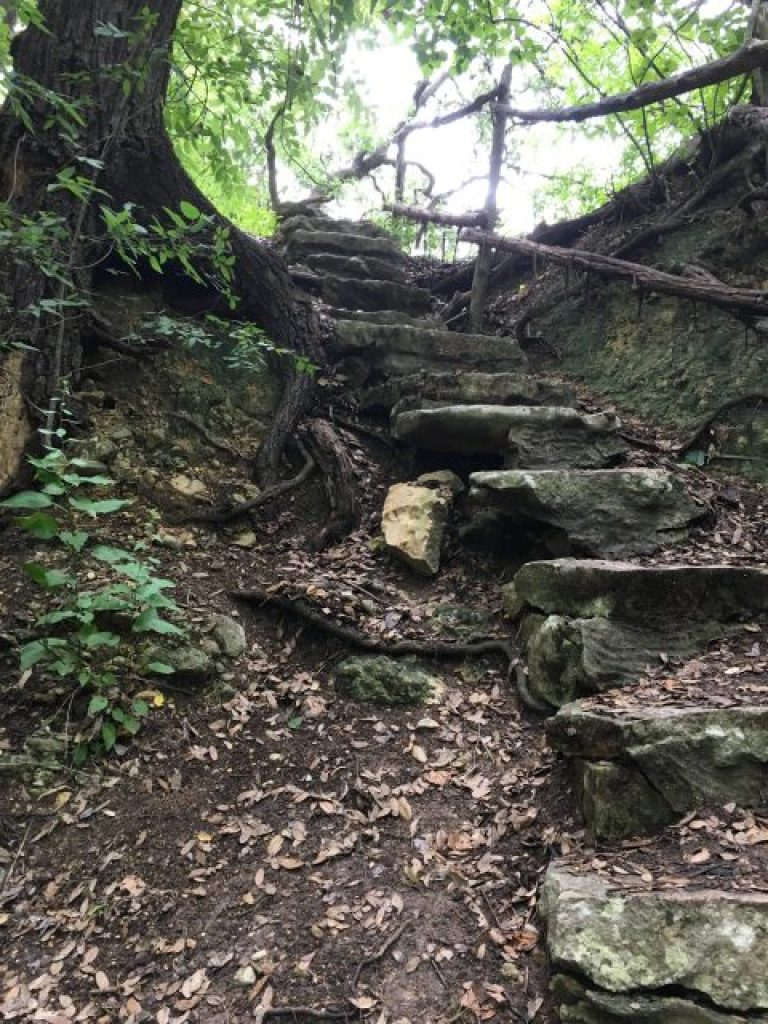 More difficult terrain and steps can be found along the creek
