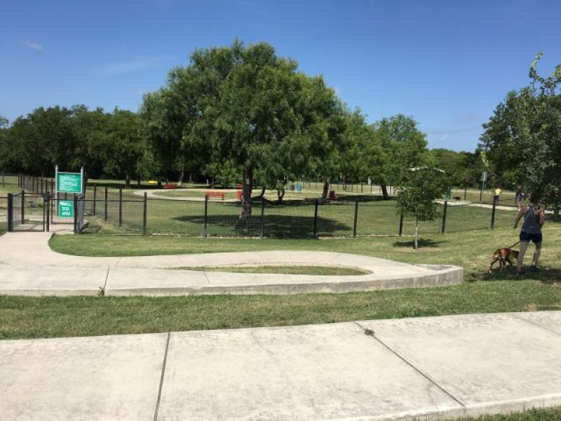 The entrance to the dog park at Pearsall Park in San Antonio.