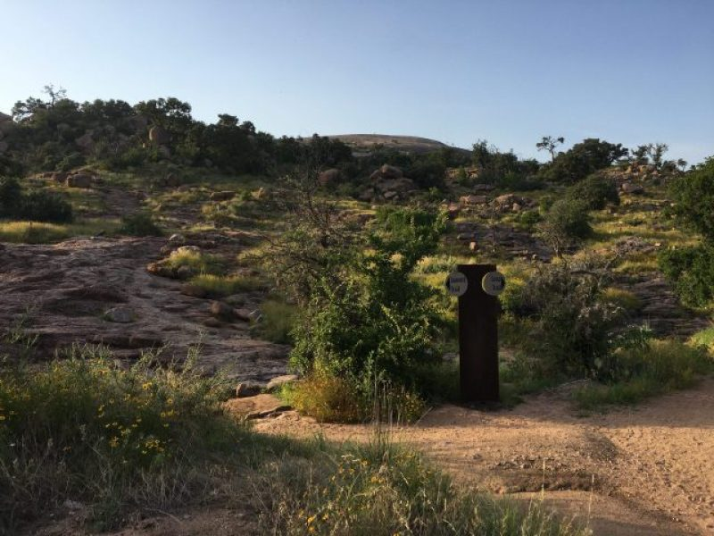 Summit trail at Enchanted Rock where the clock started