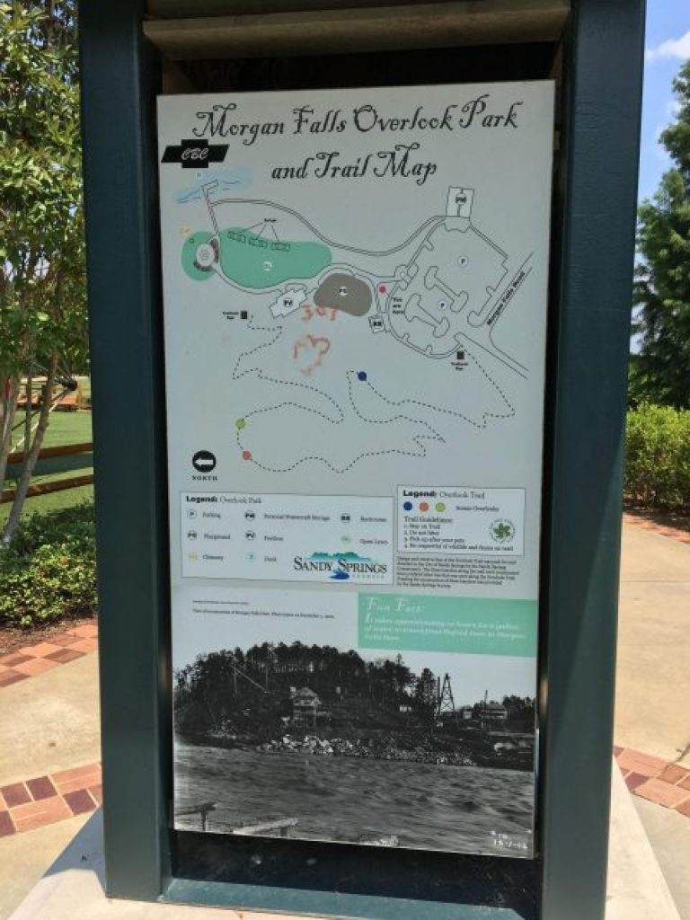 The map at the entrance of Morgan Falls Overlook Park in Sandy Springs, Georgia.