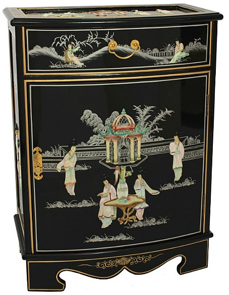 Handmade Black Lacquer Mother of Pearl Cabinet