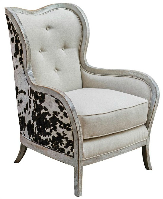 faux cowhide Kathy Kuo Home chair