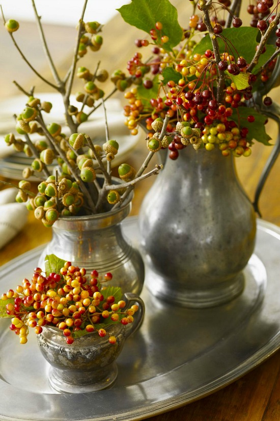 berries-pewter-vases-centerpiece