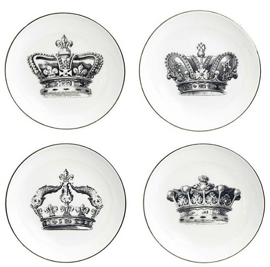 Royal Crown Round Appetizer Plates, Set of 4