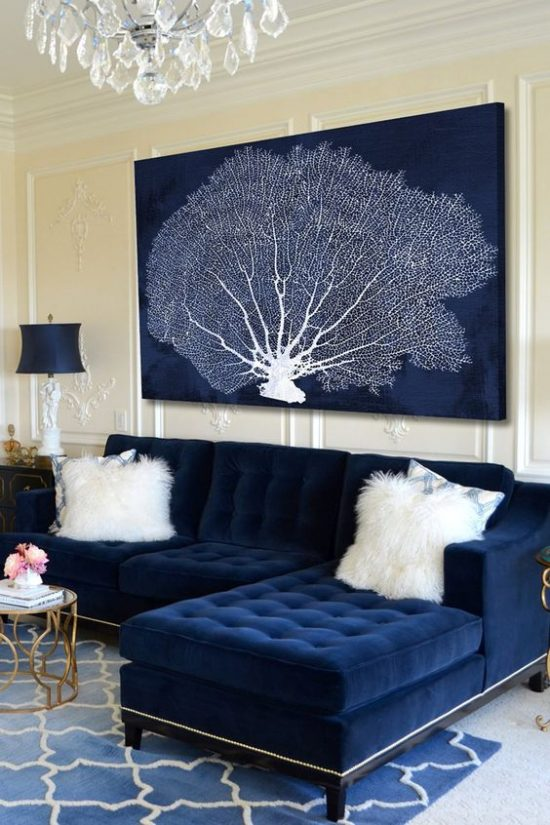 navy blue couch curated interior