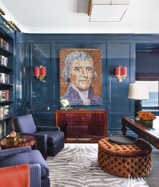 navy lacquer walls